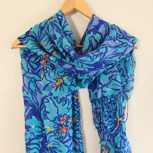 Lilly Pulitzer Blue Floral Scarf Silk Cashmere